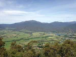 The town of Mount Beauty at the foot of Mt Bogong