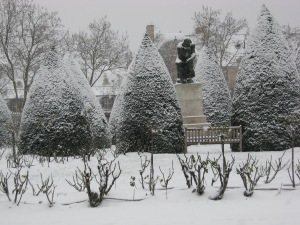 The Thinker, under snow, in the garden of Musee Rodin