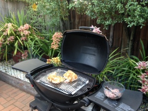 Ready to light up the Weber; some of our beautiful orchids in the background