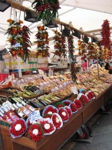 Seasonal display of chillies and garlic, Rialto Market, Venice
