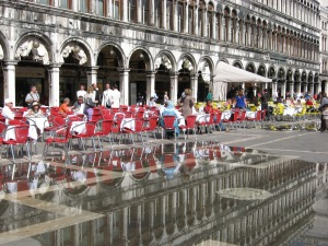 Reflections in the rising tide, Piazza San Marco, Venice