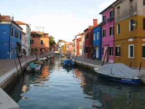 The brightly painted fishermen's houses of Burano island, Venice